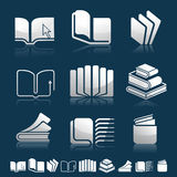 Set of icons with books silhouettes Stock Photography