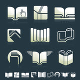 Set of icons with books silhouettes Stock Images