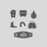 Set icons Boxing, kick boxing. Boxing equipment: gloves and helm. Et Stock Photo