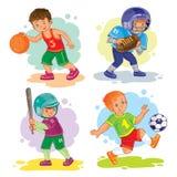 Set icons of boys playing basketball, football, baseball Stock Photos