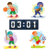 Set icons of boys playing basketball, football, baseball, scoreboard Royalty Free Stock Photography
