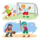 Set icons of boys playing football and baseball Stock Photography