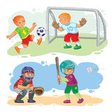 Set icons of boys playing football and baseball. Set of vector icons of boys playing baseball and soccer Stock Photos