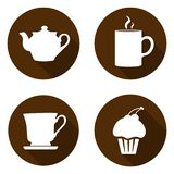 Set of icons for a break. Icons with a kettle, cup, mug and cake royalty free stock image