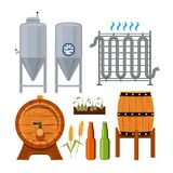 Set icons of brew beer production. Vector alcohol beer, brewery drink illustration Royalty Free Stock Image