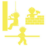 Set of icons. Builders in work Stock Photography