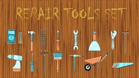 Set of icons of building plumbing garden tools: shovel saw hammer brush rake trolley spatula, screwdriver pickaxe wrench vector illustration
