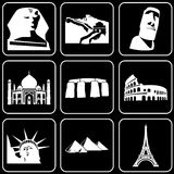 Set of icons (buildings, ancient, historical). Set white icons on a black background Stock Photo