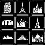 Set of icons (buildings, ancient, history). Set white icons on a black background Stock Images