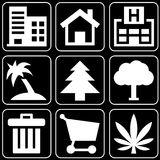 Set of icons (buildings, trees). Set white icons on a black background Royalty Free Stock Photos