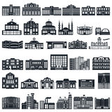 Set of icons buildings. Vector series, flat. Stock Images