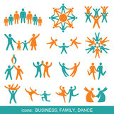 Set of icons: Business, Family, Dance. Royalty Free Stock Photography