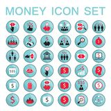 Set icons business success saving earning money. Set of 36 money related icons Business success saving earning money theme Vector illustration Royalty Free Stock Photos