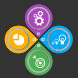 Set of icons in buttons with mechanical gears, electric lamps. Set of icons in colorful buttons with mechanical gears, electric lamps, arrow in aim and infochart Royalty Free Stock Photo