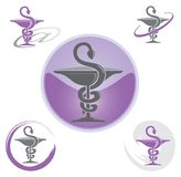 Set of Icons with Caduceus Symbol Purple - Health / Pharmacy Royalty Free Stock Photography