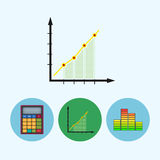 Set icons with  calculator, indicator, diagram, infographics, chart, schedule, vector illustration. Chart .  Set from 3 round colorful icons, calculator Royalty Free Stock Photography