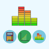 Set icons with  calculator, indicator, diagram, infographics, chart, schedule,  vector illustration. Indicator .  Set from 3 round colorful icons, calculator Stock Photos