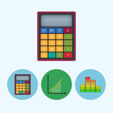Set icons with  calculator, indicator, diagram, infographics, chart, vector illustration. Calculator . Set from 3 round colorful icons, calculator, indicator Stock Photo