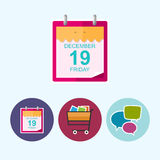 Set icons with  calendar leaf,cart,speech bubble Royalty Free Stock Images
