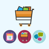 Set icons with  calendar leaf, cart , speech bubble, vector illustration Royalty Free Stock Image