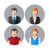 Set of icons with the callcenter agents talking through headset Stock Photography
