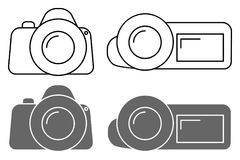 Set of icons. Camera sign and the camcorder symbol. Vector illustration Stock Photo