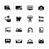 Set icons of camper, caravan, trailer Stock Photos