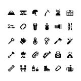 Set icons of camping and mountaineering. On white. Vector illustration Royalty Free Stock Photography