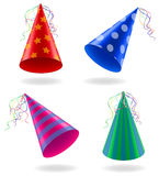 Set icons caps for birthday celebrations vector illustration Stock Photography