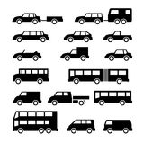 Set icons of car and bus. Isolated on white stock illustration