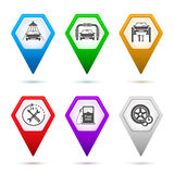Set-icons-car-repair-service-car-wash-sign-pointer Stock Images