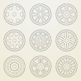Set of icons of a car rims. Stock Image