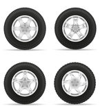 Set icons car wheel tire from the disk vector illustration Royalty Free Stock Photos