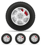Set Icons Car Wheel Tire From The Disk Vector Illustration Stock Image