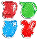 A set of  icons of carafes. Vector icons of carafes. Drawed like color pencils Vector Illustration