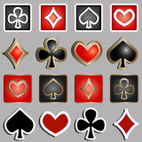 Set of icons with card suits - vector illustration Royalty Free Stock Photos