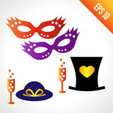 Set icons carnival masks, hats. A glass of champagne. isolated on white background stock illustration