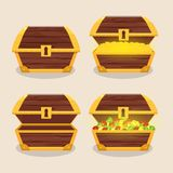 Set of icons with cartoon closed and opened wooden pirate chest royalty free illustration