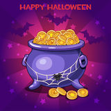 Set of icons, cartoon pot and coins for Happy Halloween party Stock Photo