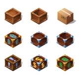Set of icons cartoon wooden isometric boxes for game. Vector illustration. Set of icons cartoon wooden isometric boxes for game. Vector illustration on white Stock Photo