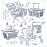Set icons carts and baskets, and the inscription sale. Vector illustration, hand sketch set icons carts and baskets, and the inscription sale drawn on notebook Stock Image