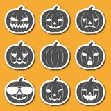 Set of icons carved from pumpkins lanterns. Emotional faces with a smile. Design for Halloween banners, invitations, tags. Vector illustration stock illustration