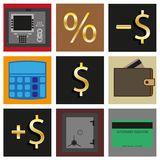 Set of icons. Cash transactions. Stock Photography