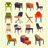 Set icons of chairs - Illustration. Set icons of chairs interior furniture icon Stock Image