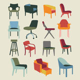 Set icons of chairs interior furniture Stock Photo