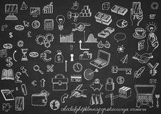 Set of icons on chalkboard. Set of hand drawn icons, on chalkboard, for creating business concepts and illustrating ideas, EPS 10 contains transparency Royalty Free Stock Images