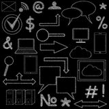 Set of  icons on chalkboard. Set of infographic icons on a chalkboard Stock Image