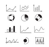 Set icons: chart, graph, diagram. Concept business and finance analytics earnings. Royalty Free Stock Photos