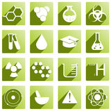 A set of icons for chemistry. Royalty Free Stock Photo