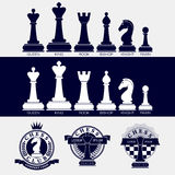 Set of icons of chess pieces and logos of chess clubs. Stock Image